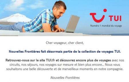 Les offres Nouvelles Frontières intégrées au site de TUI France
