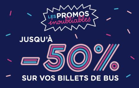 OUIBUS : les Promos Inoubliables, jusqu'à -50% sur vos billets de bus.