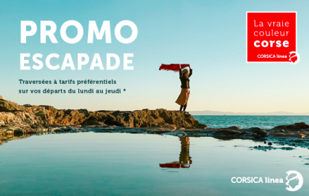 Corse, ferry : offre escapade, traversées A/R Marseille ↔ Corse, 1 à 4 pers. + cabine + voiture