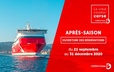 Corse : traversées Marseille - Ajaccio/Basia/Île Rousse, du 21/09 au 31/12