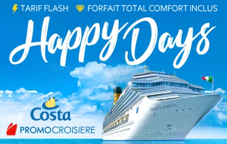 Costa : promo croisières 7 jours ou plus, jusqu'à - 53% et - 250 € avec option Total Confort