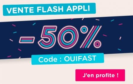 Bus : ventes flash  - 50% valable sur tous les trajets avec le code promo sur l'application mobile