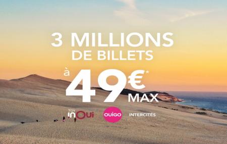 Train été, promo : TGV INOUI, OUIGO et INTERCITÉS 3 millions de billets à 49 € max !