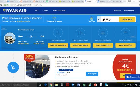 Bon plan week-end : Votre weekend à Rome vol + hôtel pour moins de 85€/personne ! - Simulation du vol Paris-Rome du 18 au 20 novembre